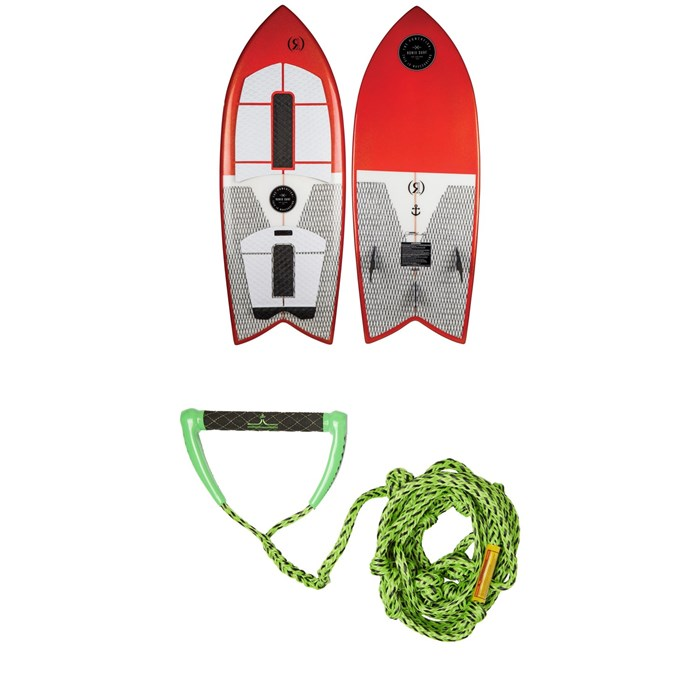Ronix - Koal Technora Powerfish+ Wakesurf Board + Proline x evo LGS Surf Handle + 25 ft Air Line
