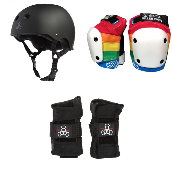 Triple 8 - Sweatsaver Liner Skateboard Helmet + 187 Slim Knee Pads + Triple 8 Wristsaver Slide On Wrist Guards
