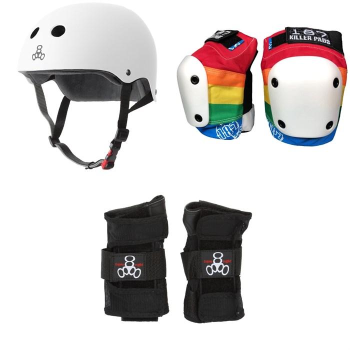 Triple 8 - The Certified Sweatsaver Skateboard Helmet + 187 Slim Knee Pads + Triple 8 Wristsaver Slide On Wrist Guards