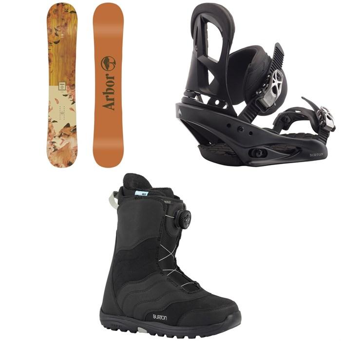 Arbor - Cadence Rocker Snowboard 2020 + Burton Stiletto Snowboard Bindings 2020 + Burton Mint Boa Snowboard Boots - Women's 2018