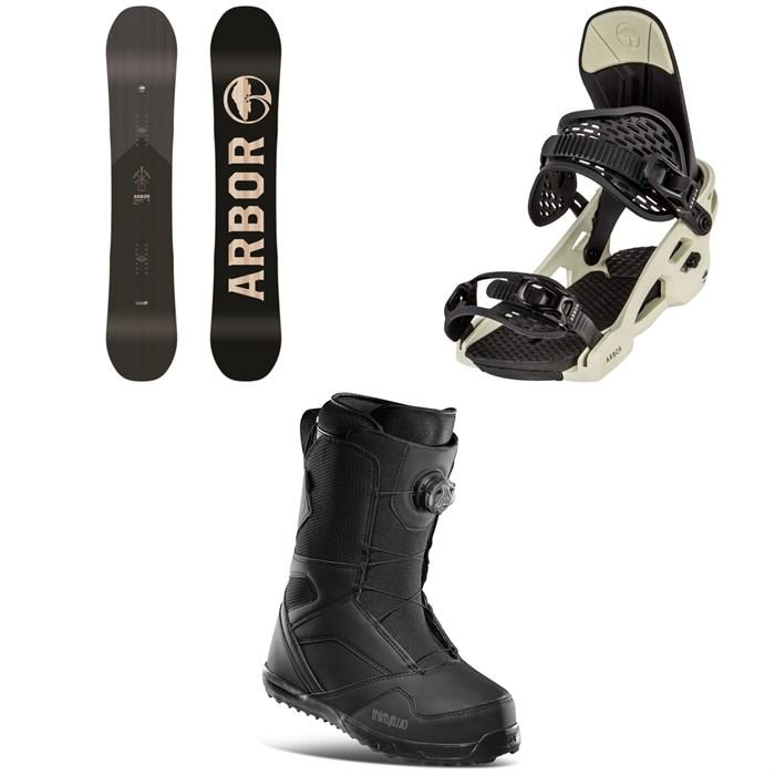 Arbor - Foundation Snowboard + Spruce Snowboard Bindings + thirtytwo STW Boa Snowboard Boots 2021