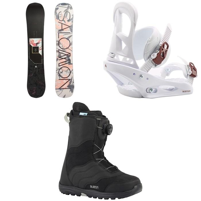 Salomon - Wonder X Snowboard 2020 + Burton Stiletto Snowboard Bindings 2020 + Mint Boa Snowboard Boots - Women's 2018