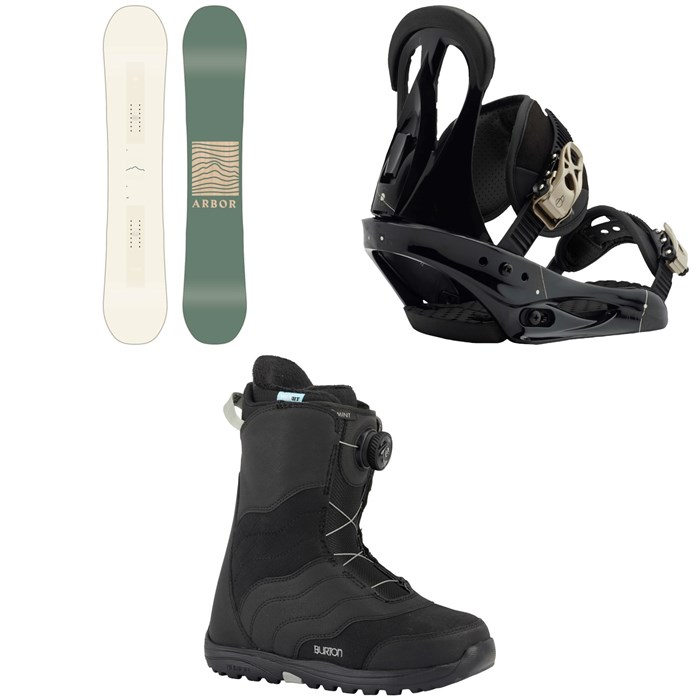 Arbor - Poparazzi Camber Snowboard  2020 + Burton Citizen Snowboard Bindings 2019 + Burton Mint Boa Snowboard Boots - Women's 2018