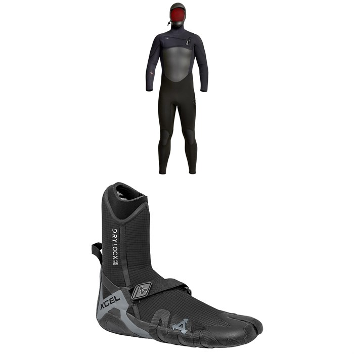XCEL - 5/4 Infiniti Hooded Wetsuit + 5mm Drylock Split Toe Wetsuit Boots