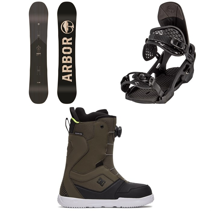 Arbor - Foundation Snowboard + Arbor Spruce Snowboard Bindings + DC Scout Boa Snowboard Boots 2021