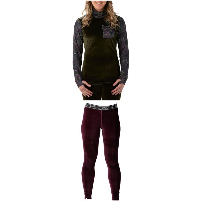 Rojo Outerwear - Velvet Funnel Neck Base Layer Top + Velvet Full Length Pants - Women's