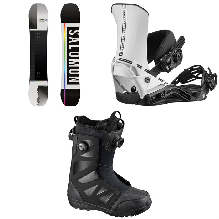 Salomon - Huck Knife Snowboard + District Snowboard Bindings + Launch Boa SJ Snowboard Boots 2021
