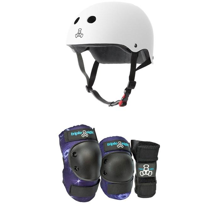 Triple 8 - The Certified Sweatsaver Skateboard Helmet + Galaxy 3 Pack Skateboard Pad Set - Kids'