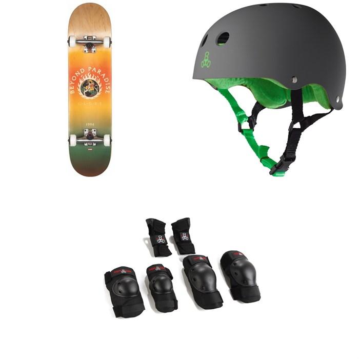 Globe - G1 Ablaze 7.75 Skateboard Complete + Triple 8 Sweatsaver Liner Skateboard Helmet + Saver Series High Impact Jr Skateboard Pad Set