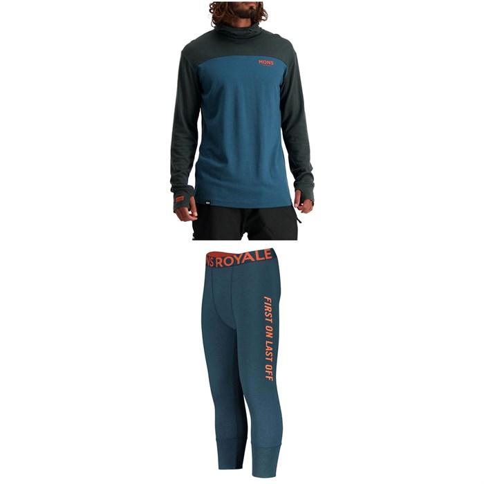 MONS ROYALE - Yotei Power Hood Long Sleeve Top + Shaun-Off 3/4 Leggings