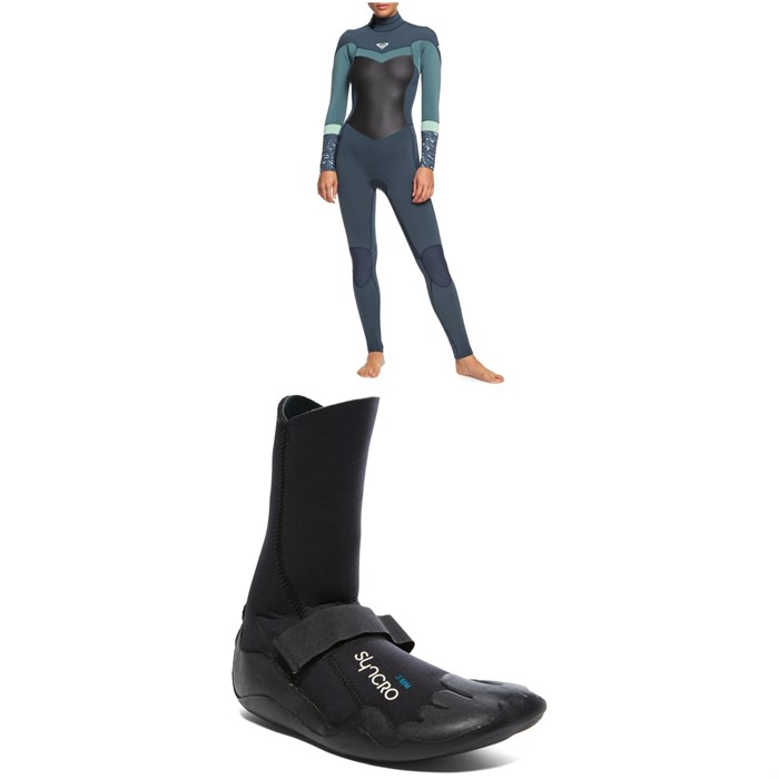 Roxy - 4/3 Syncro Back Zip GBS Wetsuit + Syncro 3mm Round Toe Wetsuit Boots - Women's