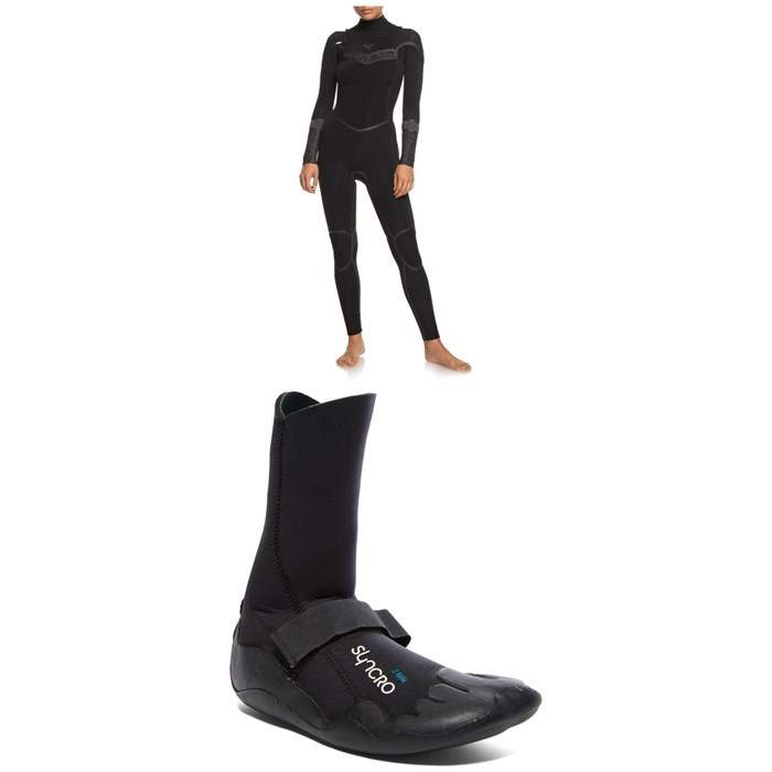 Roxy - 4/3 Syncro+ Chest Zip LFS Wetsuit + Syncro 3mm Round Toe Wetsuit Boots - Women's