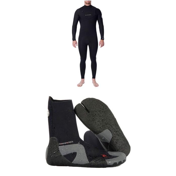 Rip Curl - 4/3 Dawn Patrol Chest Zip Wetsuit + Dawn Patrol 3mm Split Toe Boots