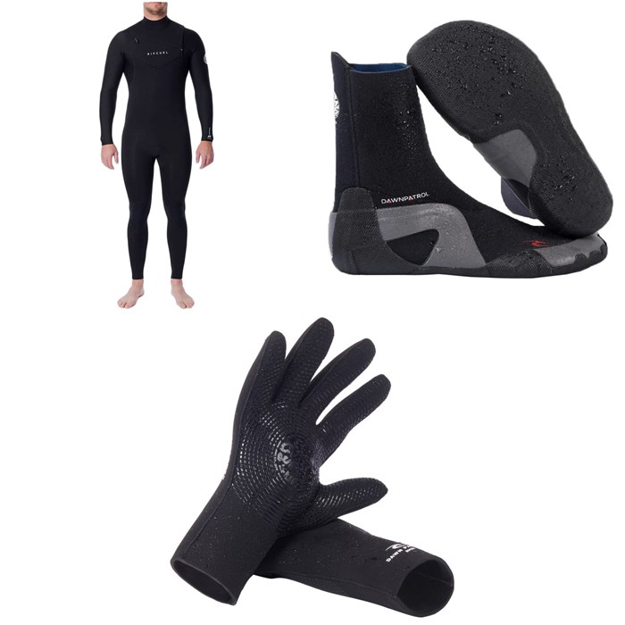 Rip Curl - 4/3 Dawn Patrol Chest Zip Wetsuit + Dawn Patrol 3mm Round Toe Boots + Dawn Patrol 3mm Wetsuit Gloves