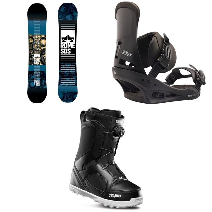 Rome - Reverb Rocker SE Snowboard 2019 + Burton Custom Snowboard Bindings 2020 + thirtytwo STW Boa Snowboard Boots 2020
