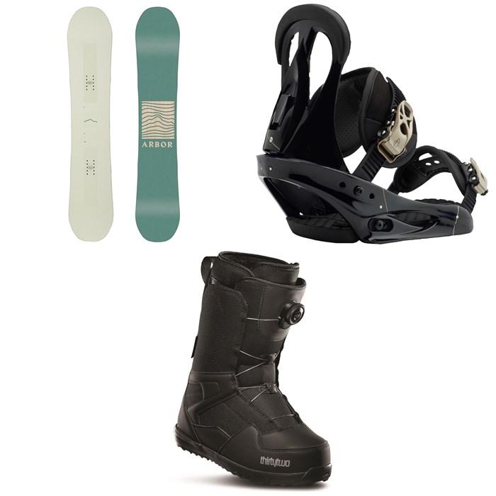 Arbor - Poparazzi Rocker Snowboard 2020 + Burton Citizen Snowboard Bindings 2019 + thirtytwo Shifty Boa Snowboard Boots - Women's 2020