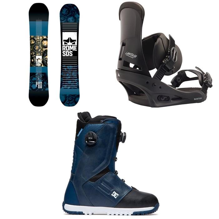 Rome - Reverb Rocker SE Snowboard 2019 + Burton Custom Snowboard Bindings 2020 + DC Control Boa Snowboard Boots 2020