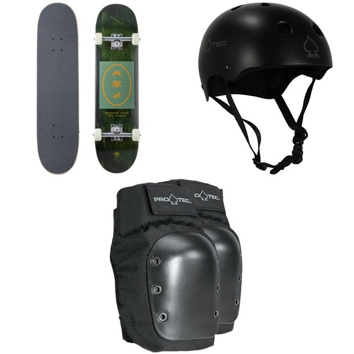 Arbor - Whiskey 8.0 Recruit Skateboard Complete + Pro-Tec Classic Skate Skateboard Helmet + Street Skateboard Knee Pads