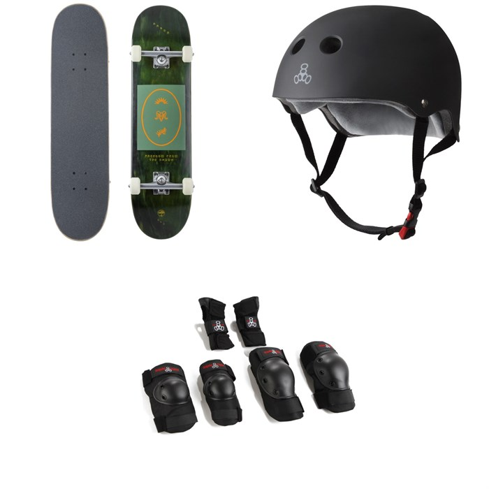 Arbor - Whiskey 8.0 Recruit Skateboard Complete + Triple 8 The Certified Sweatsaver Skateboard Helmet + Saver Series High Impact Skateboard Pad Set