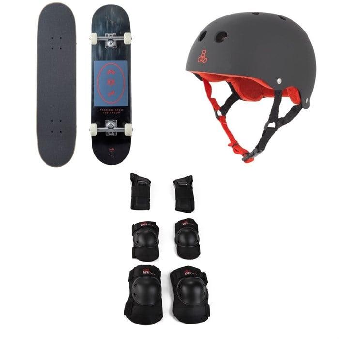 Arbor - Whiskey 7.75 Recruit Skateboard Complete + Triple 8 Sweatsaver Liner Skateboard Helmet + Little Tricky Jr. Skateboard Pad Set