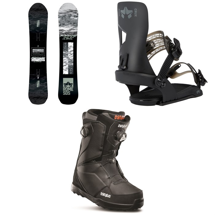 Rome - Warden Snowboard + Crux SE Snowboard Bindings + thirtytwo Lashed Double Boa Snowboard Boots 2020