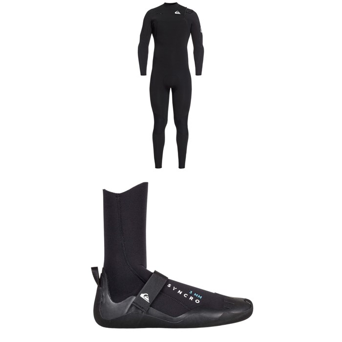 Quiksilver - 4/3 Syncro Chest Zip GBS Wetsuit + Syncro 3mm Round Toe Wetsuit Boots