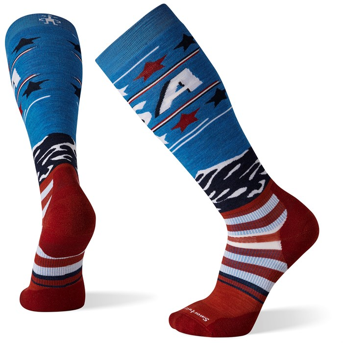 Smartwool - Performance Snow Targeted Cushion Pattern USA Flag OTC Socks
