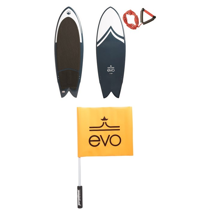Liquid Force - x evo Fish Wakesurf Board w/ Surf Rope  + Proline Safety Flag