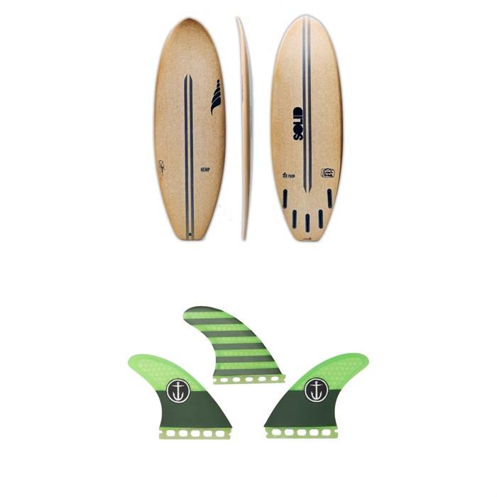 Solid Surf Co - Lunch Break Surfboard + Captain Fin CF Medium Single Tab Tri Fin Set
