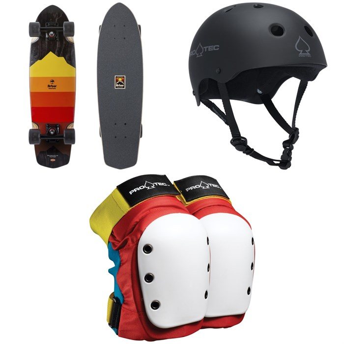 Arbor - Pocket Rocket Artist Cruiser Skateboard Complete + Pro-Tec The Classic Certified EPS Skateboard Helmet + Street Skateboard Knee Pads