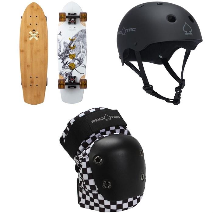 Arbor - Pocket Rocket Bamboo Cruiser Skateboard Complete + Pro-Tec The Classic Certified EPS Skateboard Helmet + Street Skateboard Knee Pads