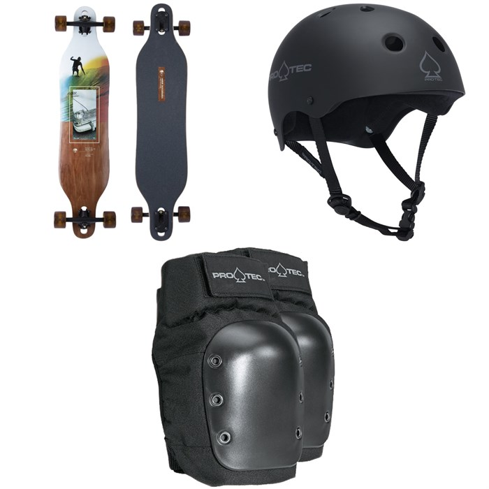 Arbor - Axis Photo Longboard Complete + Pro-Tec The Classic Certified EPS Skateboard Helmet + Street Skateboard Knee Pads