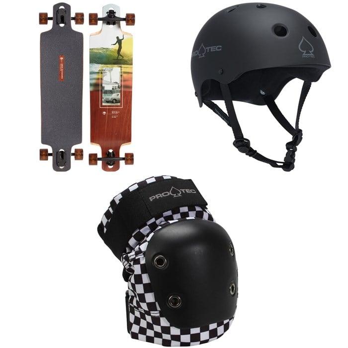 Arbor - Dropcruiser Photo Longboard Complete + Pro-Tec The Classic Certified EPS Skateboard Helmet + Street Skateboard Knee Pads