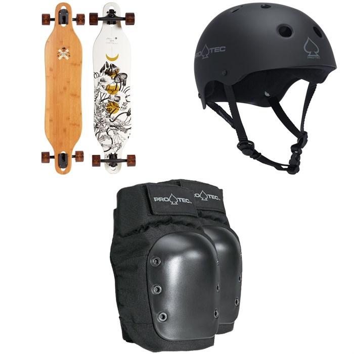 Arbor - Axis Bamboo Longboard Complete + Pro-Tec The Classic Certified EPS Skateboard Helmet + Street Skateboard Knee Pads
