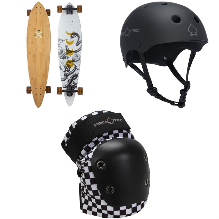 Arbor - Fish Bamboo Longboard Complete + Pro-Tec The Classic Certified EPS Skateboard Helmet + Street Skateboard Knee Pads