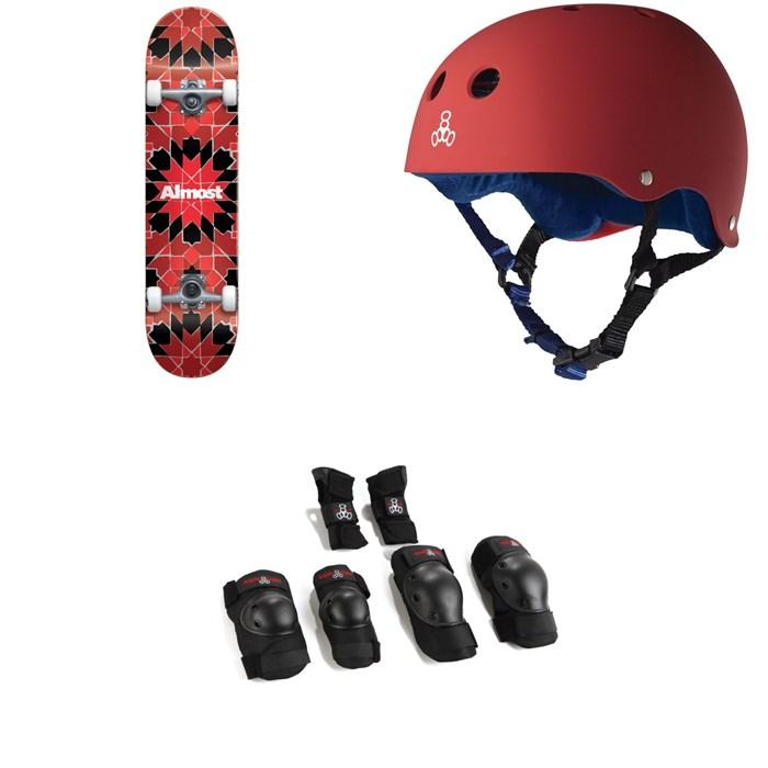 Almost - Tile Pattern FP 7.75 Skateboard Complete + Triple 8 Sweatsaver Liner Skateboard Helmet + Saver Series High Impact JR Skateboard Pad Set