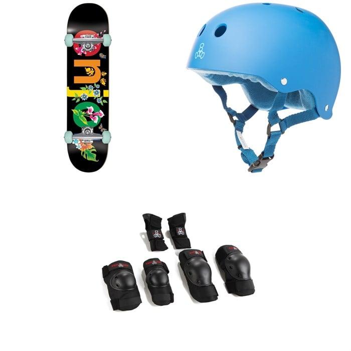 Enjoi - Flowers Resin Premium 8.0 Skateboard Complete + Triple 8 Sweatsaver Liner Skateboard Helmet + Saver Series High Impact Skateboard Pad Set