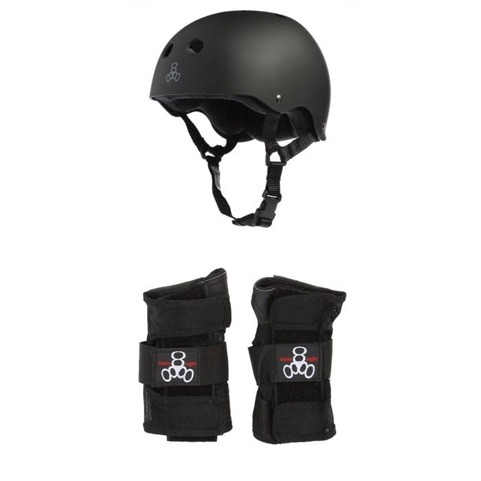 Triple 8 - Sweatsaver Liner Skateboard Helmet + Wristsaver Slide On Wrist Guards