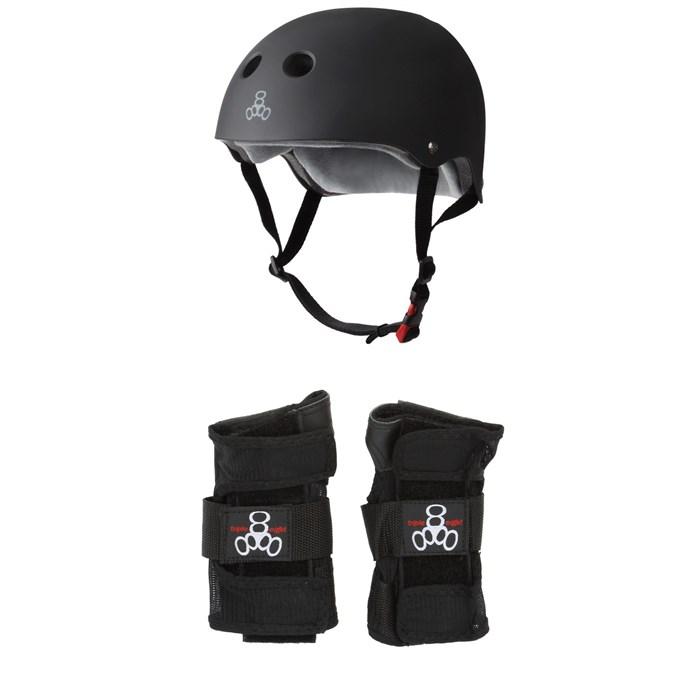 Triple 8 - The Certified Sweatsaver Skateboard Helmet + Wristsaver Slide On Wrist Guards