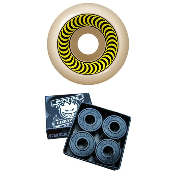 Spitfire - Formula Four 99a OG Classic Skateboard Wheels + Spitfire Cheapshots Bearings