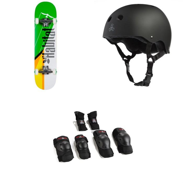 Habitat - Apex Flight Green Complete 7.75 Skateboard Complete + Triple 8 Sweatsaver Liner Skateboard Helmet + Saver Series High Impact Skateboard JR Pad Set