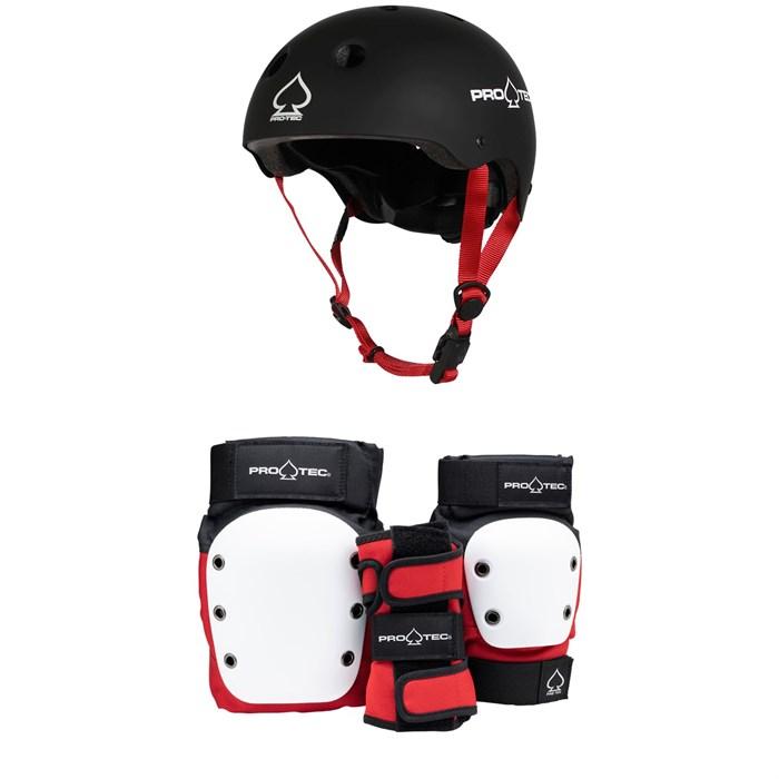 Pro-Tec - Jr. Classic Fit Certified Skateboard Helmet + Street Gear Junior Open Back Skateboard Pads
