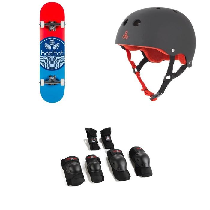 Habitat - Leaf Dot Blue Complete 7.75 Skateboard Complete + Triple 8 Sweatsaver Liner Skateboard Helmet + Saver Series High Impact Skateboard JR Pad Set
