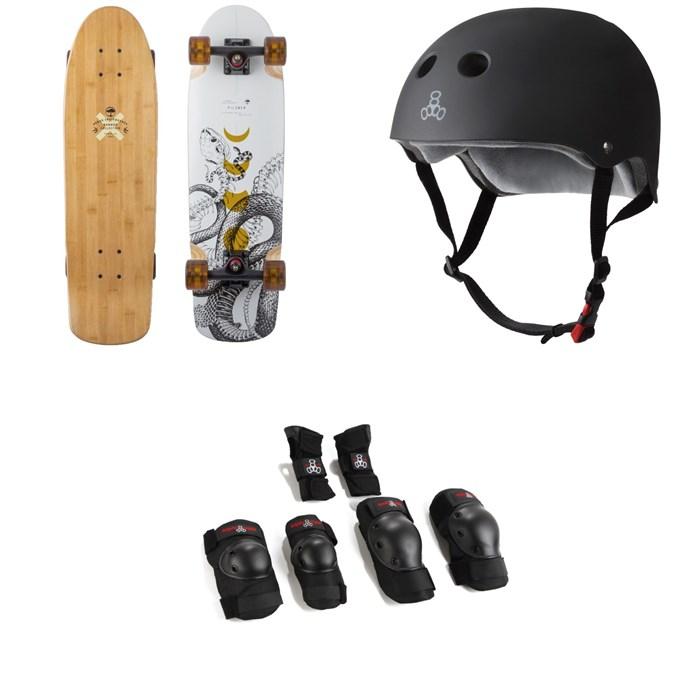 Arbor - Pilsner Bamboo Cruiser Skateboard Complete + Triple 8 The Certified Sweatsaver Skateboard Helmet + Saver Series High Impact 3 Skateboard Pad Set