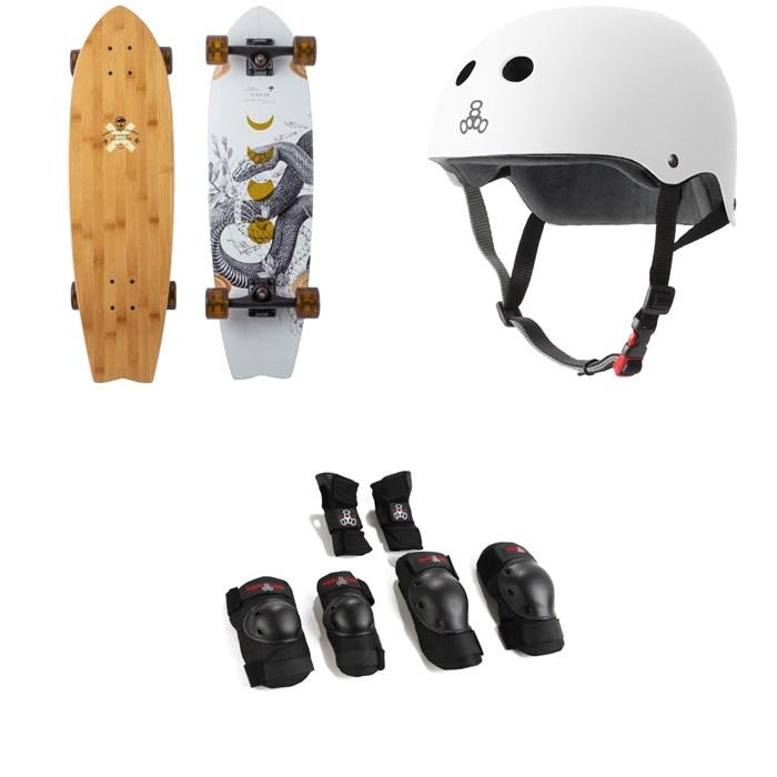 Arbor - Sizzler Bamboo Longboard Complete + Triple 8 The Certified Sweatsaver Skateboard Helmet + Saver Series High Impact Skateboard Pad Set