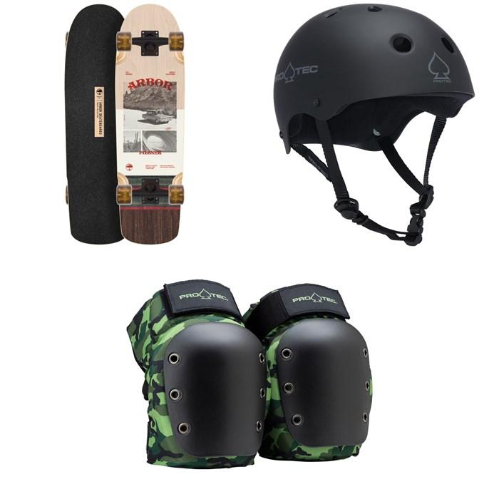 Arbor - Pilsner Photo Cruiser Skateboard Complete + Pro-Tec The Classic Certified EPS Skateboard Helmet + Street Open Back Skateboard Knee Pads