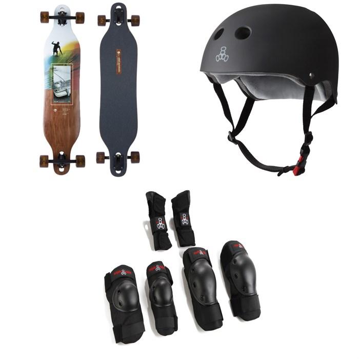 Arbor - Axis Photo Longboard Complete + Triple 8 The Certified Sweatsaver Skateboard Helmet + Saver Series High Impact Skateboard Pad Set