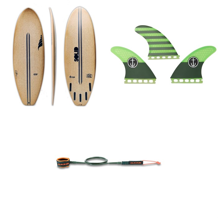 Solid Surf Co - Lunch Break Surfboard + Captain Fin CF Medium Single Tab Tri Fin Set + Dakine Kainui Team 6' Leash