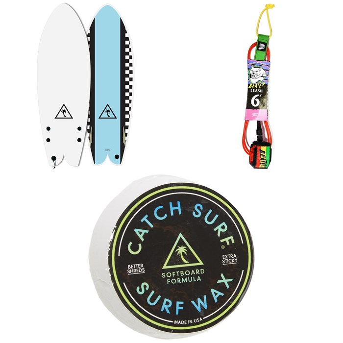 """Catch Surf - Heritage 5'6"""" Retro Fish Twin Fin Surfboard + Catch Surf Beater 6' Leash + Catch Surf Surf Wax"""