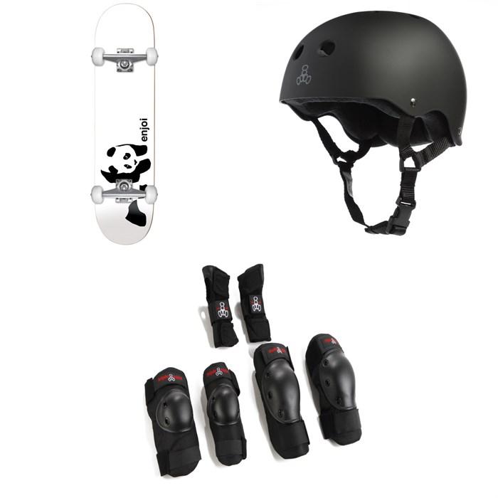 Enjoi - Whitey Panda FP 7.75 Skateboard Complete + Triple 8 Sweatsaver Liner Skateboard Helmet + Triple 8 Saver Series High Impact 3 Pack Skateboard Pad Set